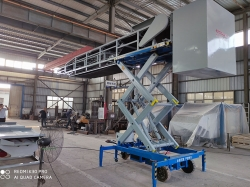 Specially Designed Mobile Telescopic Belt Conveyor Loader With Scissor Lift For Loading Bulk Materials Into 20ft Containers